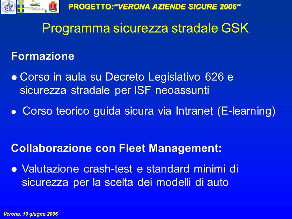 PROGETTO:VERONA AZIENDE SICURE 2006 Verona, 19 giugno 2006 Formazione Corso in aula su Decreto Legislativo 626 e sicurezza stradale per ISF neoassunti