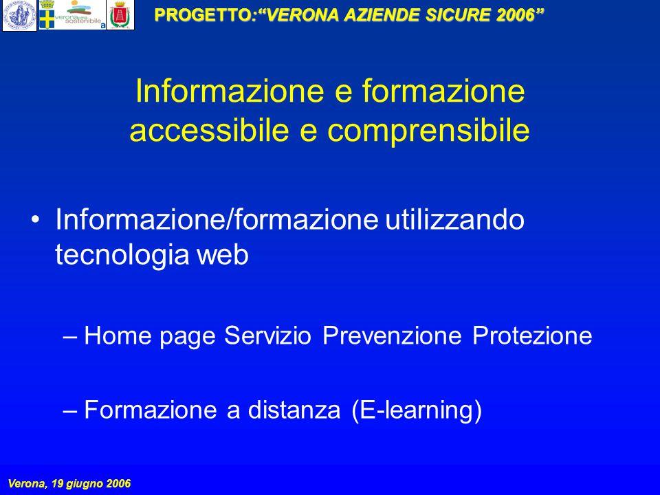 PROGETTO:VERONA AZIENDE SICURE 2006 Verona, 19 giugno 2006 Informazione e formazione accessibile e comprensibile Informazione/formazione utilizzando t