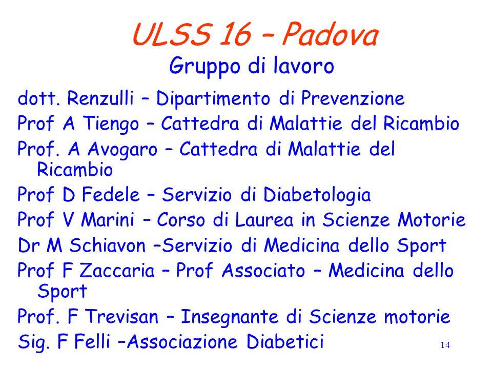 14 ULSS 16 – Padova Gruppo di lavoro dott.