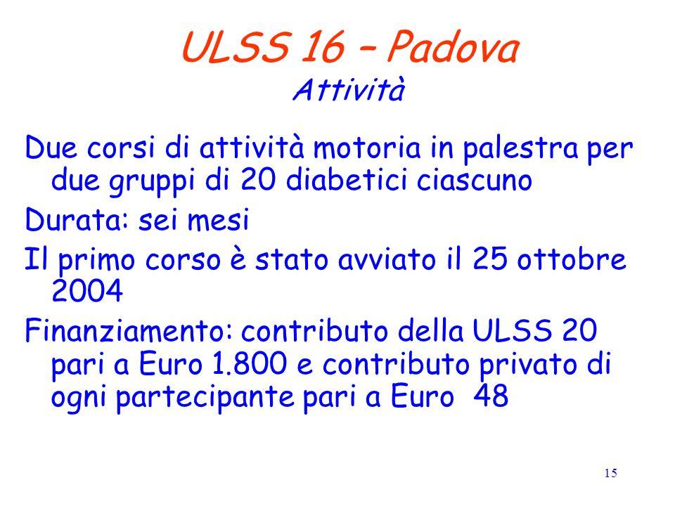 15 ULSS 16 – Padova Attività Due corsi di attività motoria in palestra per due gruppi di 20 diabetici ciascuno Durata: sei mesi Il primo corso è stato avviato il 25 ottobre 2004 Finanziamento: contributo della ULSS 20 pari a Euro 1.800 e contributo privato di ogni partecipante pari a Euro 48