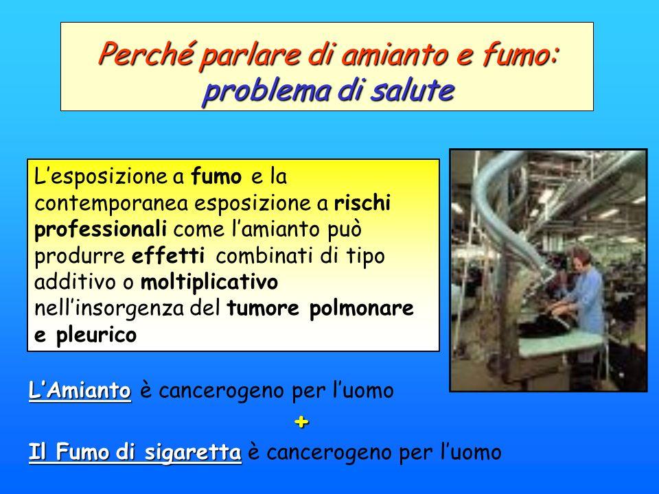 Perché parlare di amianto e fumo: problema di salute Lesposizione a fumo e la contemporanea esposizione a rischi professionali come lamianto può produ