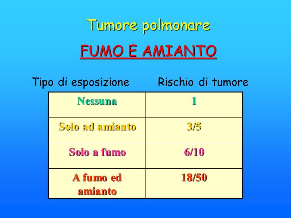 Tumore polmonare FUMO E AMIANTO Tipo di esposizione Rischio di tumore Nessuna1 Solo ad amianto 3/5 Solo a fumo 6/10 A fumo ed amianto 18/50