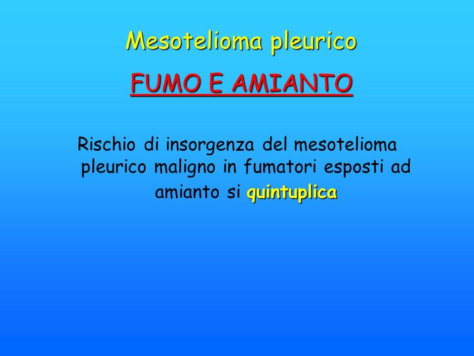 Mesotelioma pleurico FUMO E AMIANTO quintuplica Rischio di insorgenza del mesotelioma pleurico maligno in fumatori esposti ad amianto si quintuplica