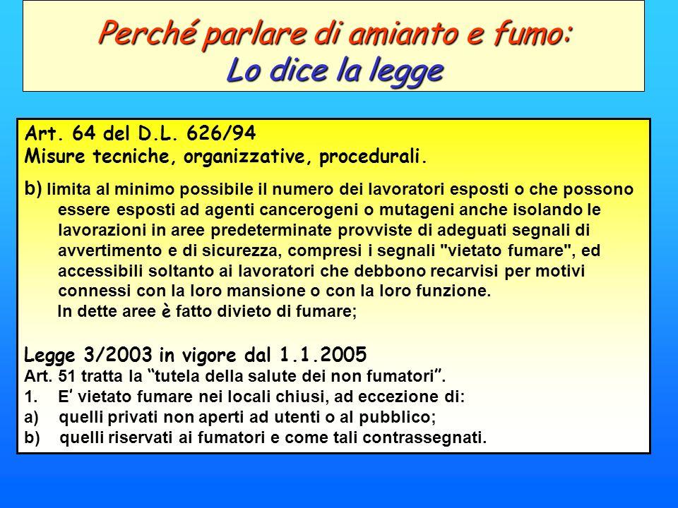 Art. 64 del D.L. 626/94 Misure tecniche, organizzative, procedurali. b) limita al minimo possibile il numero dei lavoratori esposti o che possono esse