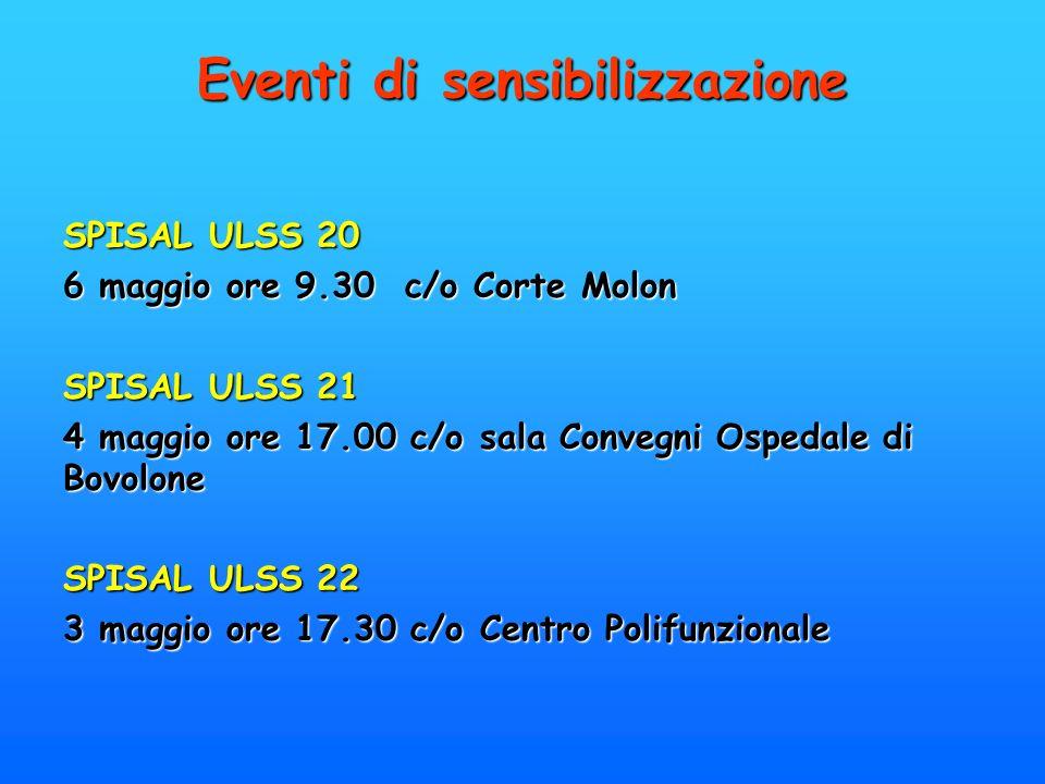 Eventi di sensibilizzazione SPISAL ULSS 20 6 maggio ore 9.30 c/o Corte Molon SPISAL ULSS 21 4 maggio ore 17.00 c/o sala Convegni Ospedale di Bovolone