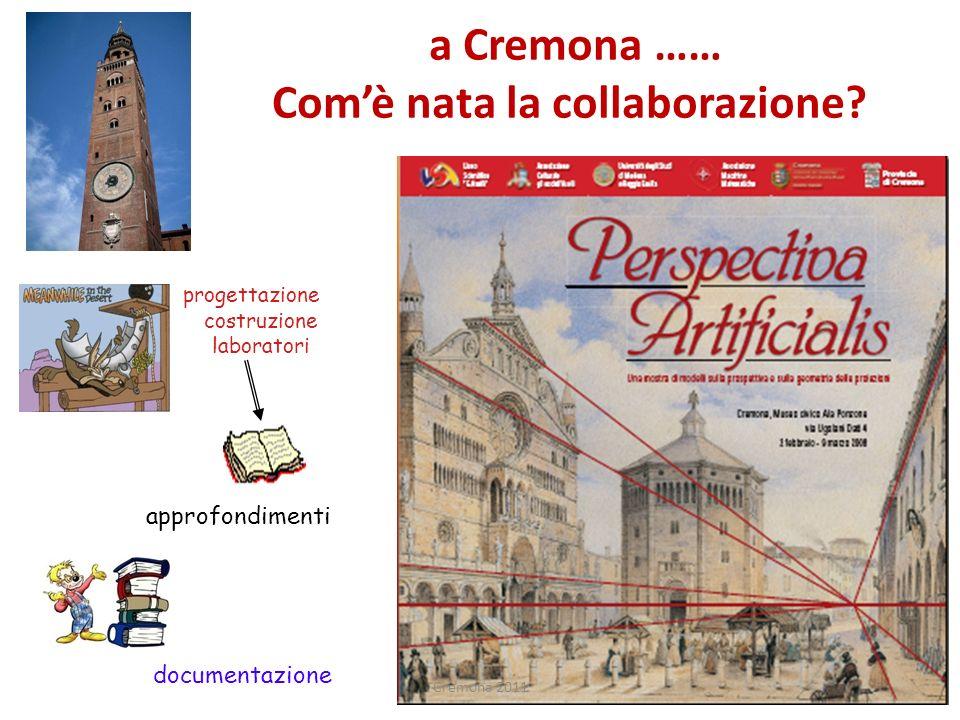 progettazione costruzione laboratori approfondimenti documentazione a Cremona …… Comè nata la collaborazione? Cremona 2011