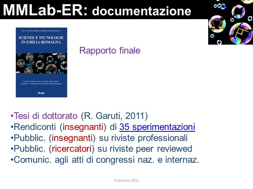 MMLab-ER: documentazione Rapporto finale Tesi di dottorato (R. Garuti, 2011) Rendiconti (insegnanti) di 35 sperimentazioni35 sperimentazioni Pubblic.
