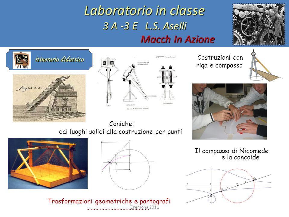 Laboratorio in classe 3 A -3 E L.S. Aselli Macch In Azione itinerario didattico itinerario didattico Costruzioni con riga e compasso Coniche: dai luog