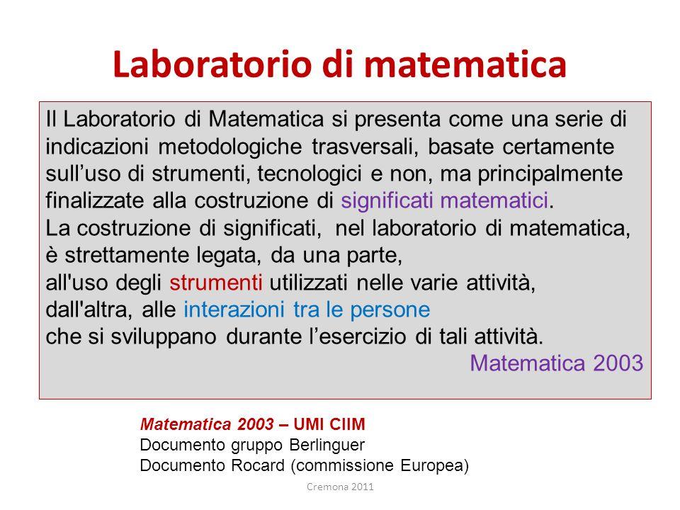 Laboratorio di matematica Il Laboratorio di Matematica si presenta come una serie di indicazioni metodologiche trasversali, basate certamente sulluso