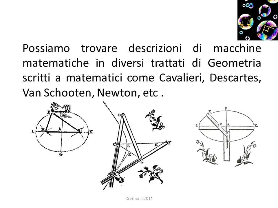 Possiamo trovare descrizioni di macchine matematiche in diversi trattati di Geometria scritti a matematici come Cavalieri, Descartes, Van Schooten, Ne