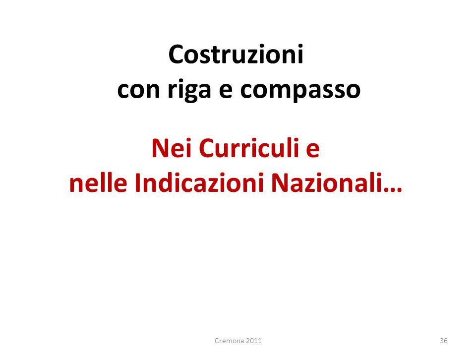 Nei Curriculi e nelle Indicazioni Nazionali… 36 Costruzioni con riga e compasso Cremona 2011
