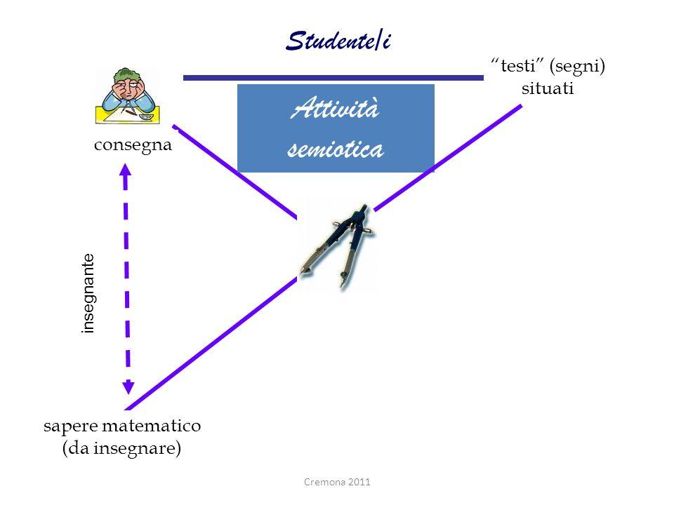 consegna Attività semiotica sapere matematico (da insegnare) testi (segni) situati Studente/i insegnante Cremona 2011