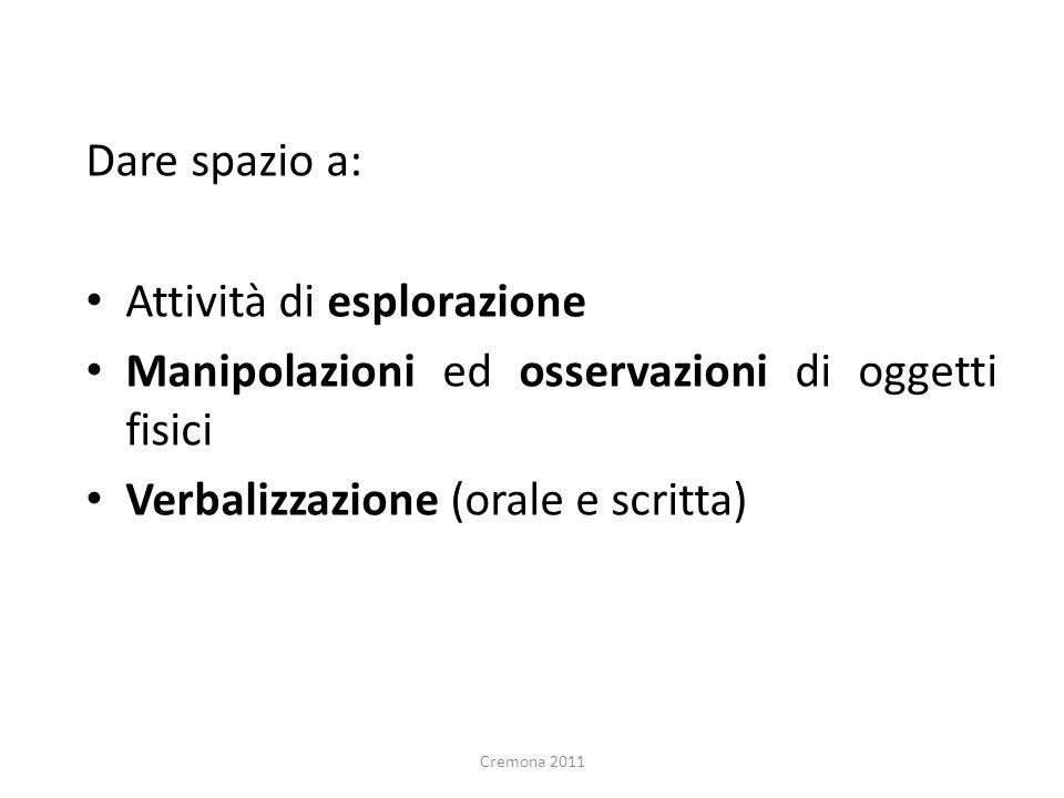 Dare spazio a: Attività di esplorazione Manipolazioni ed osservazioni di oggetti fisici Verbalizzazione (orale e scritta) Cremona 2011