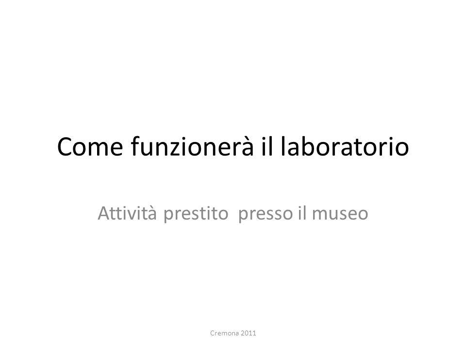 Come funzionerà il laboratorio Attività prestito presso il museo Cremona 2011