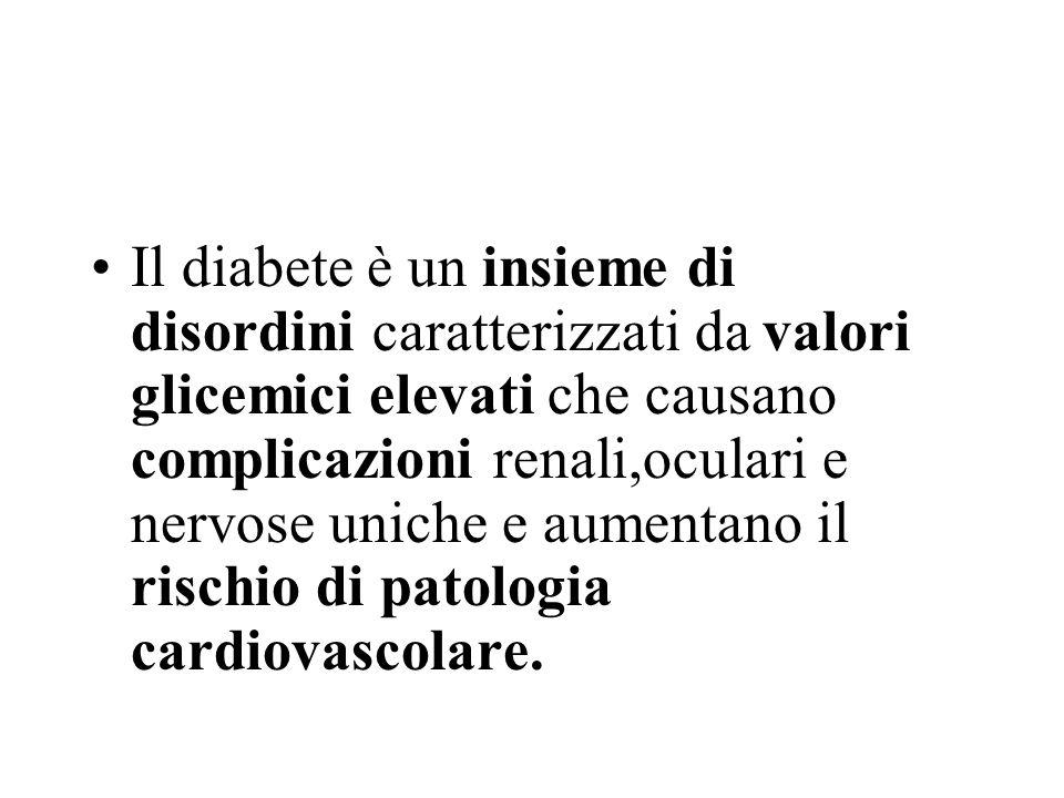 Il diabete è un insieme di disordini caratterizzati da valori glicemici elevati che causano complicazioni renali,oculari e nervose uniche e aumentano il rischio di patologia cardiovascolare.