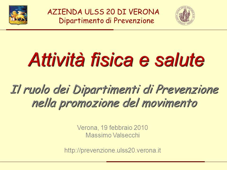 Attività fisica e salute Il ruolo dei Dipartimenti di Prevenzione nella promozione del movimento Verona, 19 febbraio 2010 Massimo Valsecchi http://pre