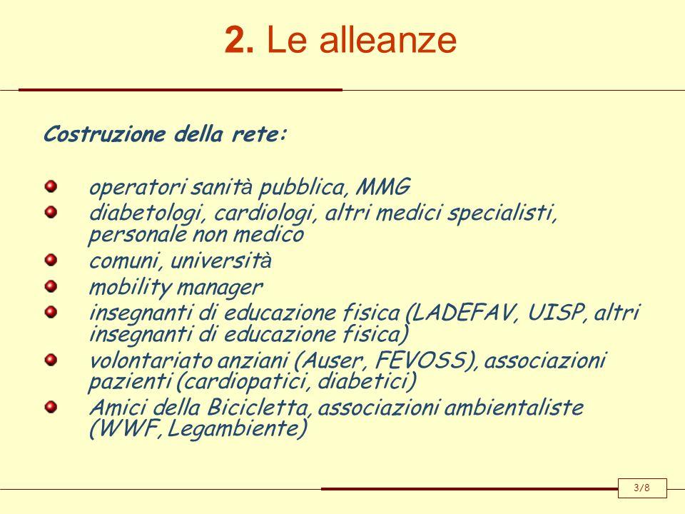 2. Le alleanze Costruzione della rete: operatori sanit à pubblica, MMG diabetologi, cardiologi, altri medici specialisti, personale non medico comuni,