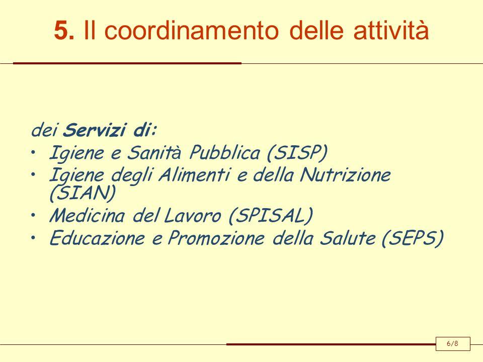 5. Il coordinamento delle attività dei Servizi di: Igiene e Sanit à Pubblica (SISP) Igiene degli Alimenti e della Nutrizione (SIAN) Medicina del Lavor