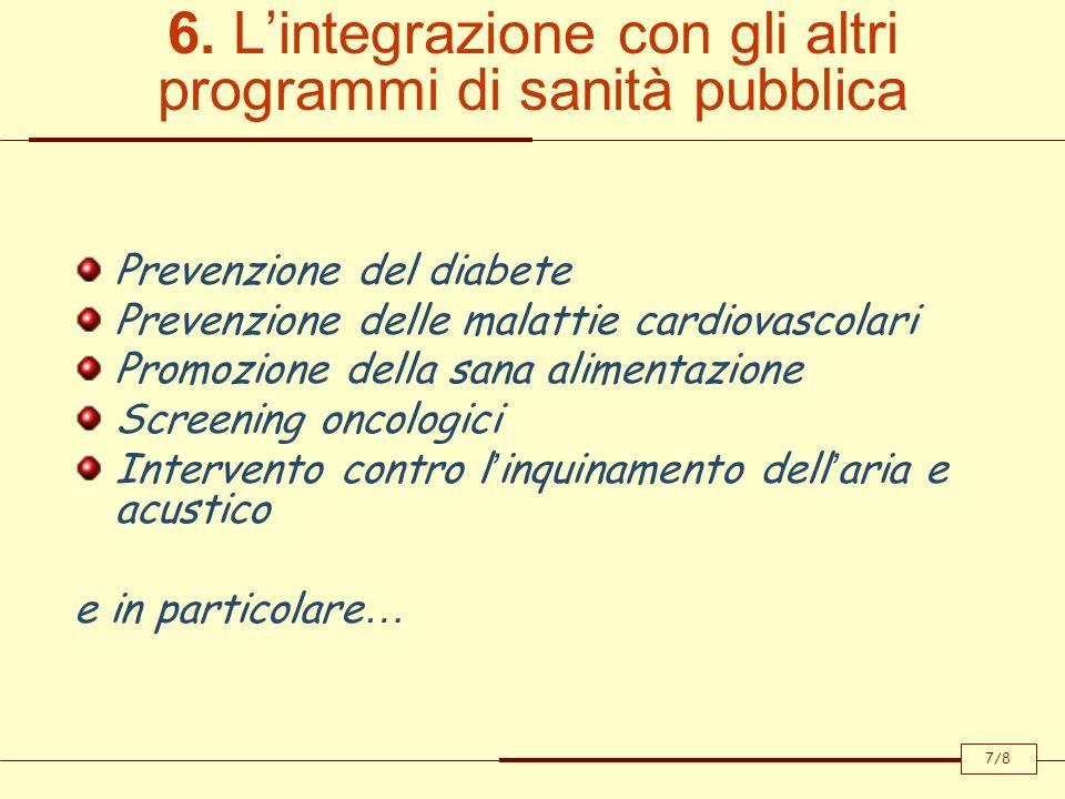 6. Lintegrazione con gli altri programmi di sanità pubblica Prevenzione del diabete Prevenzione delle malattie cardiovascolari Promozione della sana a