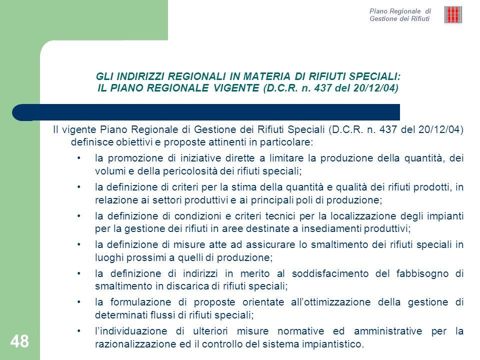 48 GLI INDIRIZZI REGIONALI IN MATERIA DI RIFIUTI SPECIALI: IL PIANO REGIONALE VIGENTE (D.C.R.