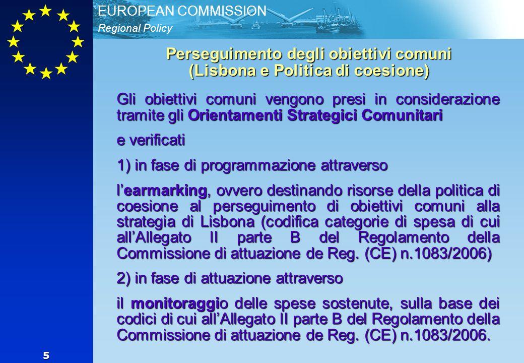 Regional Policy EUROPEAN COMMISSION 6 Earmarking core e totale IT (2000-06)