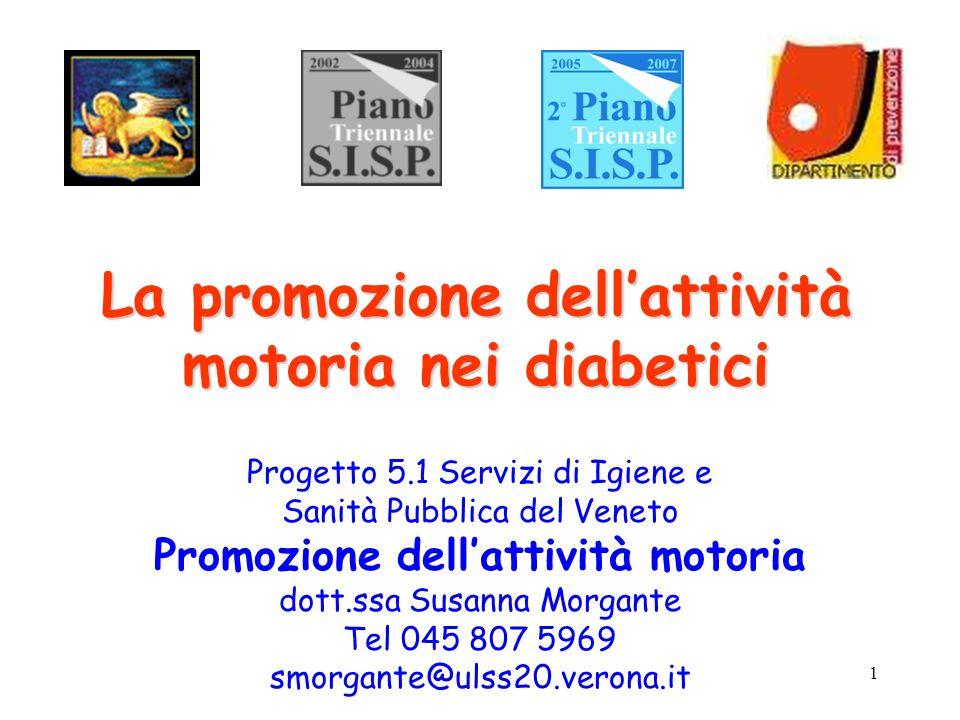 1 La promozione dellattività motoria nei diabetici Progetto 5.1 Servizi di Igiene e Sanità Pubblica del Veneto Promozione dellattività motoria dott.ss