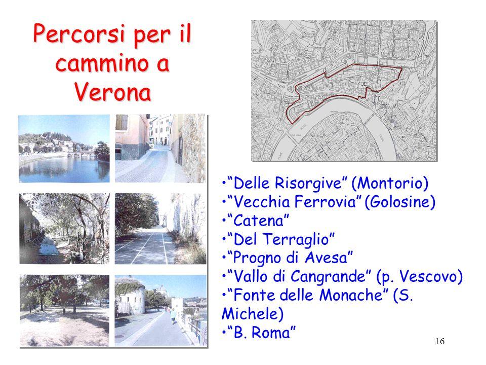 16 Delle Risorgive (Montorio) Vecchia Ferrovia (Golosine) Catena Del Terraglio Progno di Avesa Vallo di Cangrande (p. Vescovo) Fonte delle Monache (S.