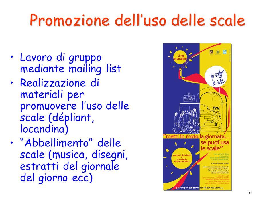 6 Promozione delluso delle scale Lavoro di gruppo mediante mailing list Realizzazione di materiali per promuovere luso delle scale (dépliant, locandin