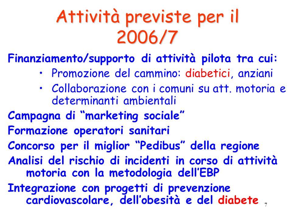 7 Attività previste per il 2006/7 Finanziamento/supporto di attività pilota tra cui: Promozione del cammino: diabetici, anziani Collaborazione con i c