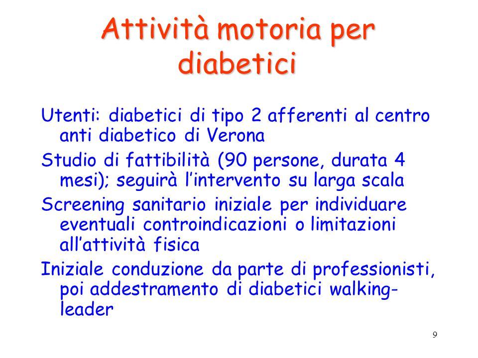9 Attività motoria per diabetici Utenti: diabetici di tipo 2 afferenti al centro anti diabetico di Verona Studio di fattibilità (90 persone, durata 4