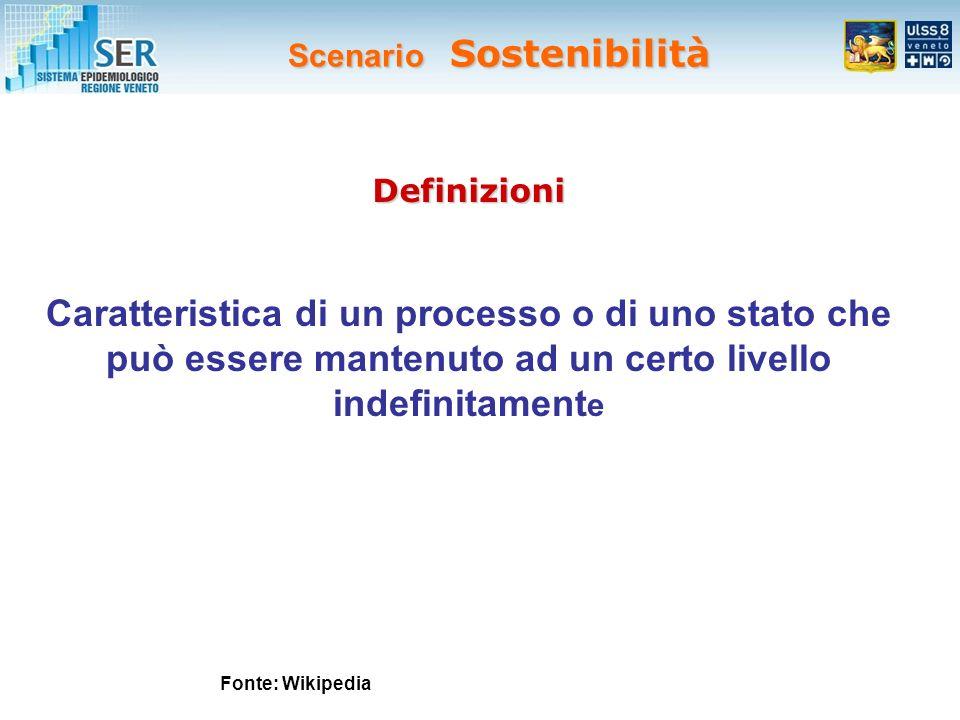 Scenario Sostenibilità Fonte: Wikipedia Caratteristica di un processo o di uno stato che può essere mantenuto ad un certo livello indefinitament e Definizioni