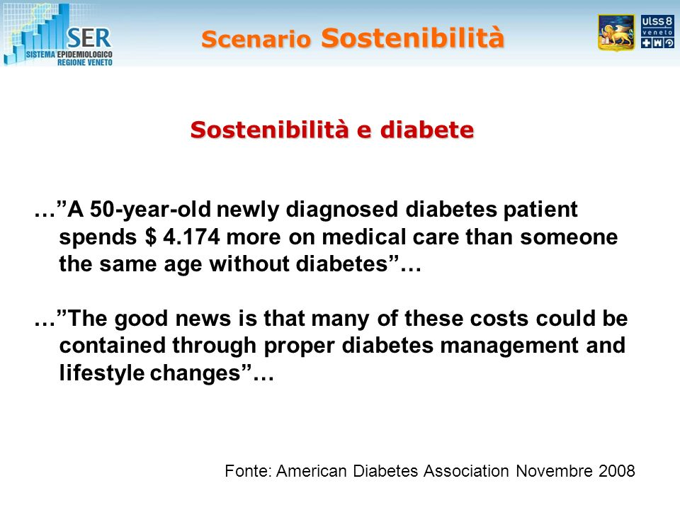 Scenario Sostenibilità …A 50-year-old newly diagnosed diabetes patient spends $ 4.174 more on medical care than someone the same age without diabetes…