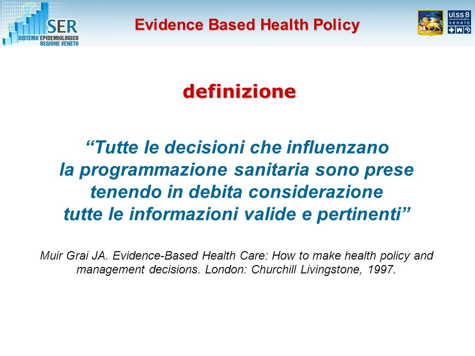 definizione Tutte le decisioni che influenzano la programmazione sanitaria sono prese tenendo in debita considerazione tutte le informazioni valide e pertinenti Muir Grai JA.