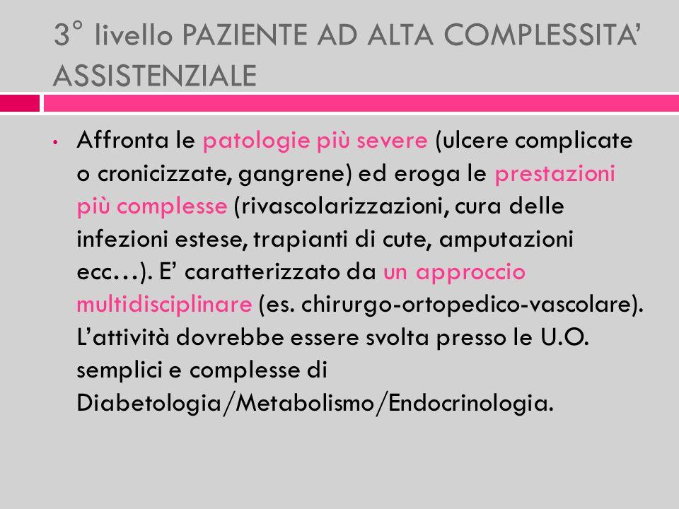 3° livello PAZIENTE AD ALTA COMPLESSITA ASSISTENZIALE Affronta le patologie più severe (ulcere complicate o cronicizzate, gangrene) ed eroga le presta