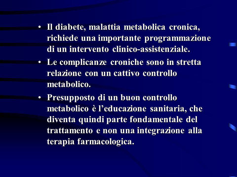 Il diabete, malattia metabolica cronica, richiede una importante programmazione di un intervento clinico-assistenziale.Il diabete, malattia metabolica