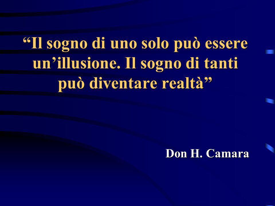 Il sogno di uno solo può essere unillusione. Il sogno di tanti può diventare realtà Don H. Camara
