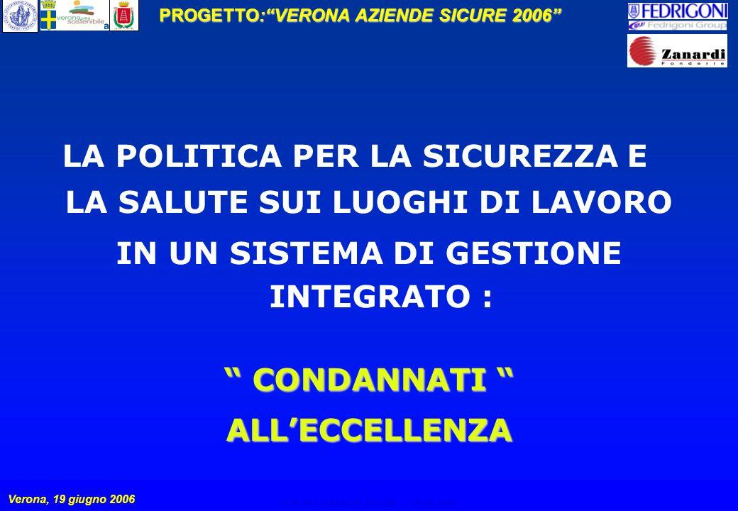 1 PROGETTO:VERONA AZIENDE SICURE 2006 Verona, 19 giugno 2006 VERONA AZIENDE SICURE – 19.06.2006 1 LA POLITICA PER LA SICUREZZA E LA SALUTE SUI LUOGHI DI LAVORO IN UN SISTEMA DI GESTIONE INTEGRATO : CONDANNATI CONDANNATI ALLECCELLENZA