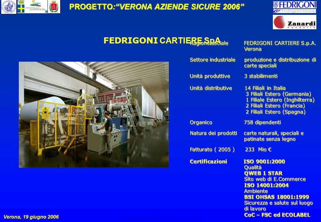 4 PROGETTO:VERONA AZIENDE SICURE 2006 Verona, 19 giugno 2006 VERONA AZIENDE SICURE – 19.06.2006 4 FEDRIGONI CARTIERE SpA Ragione sociale FEDRIGONI CARTIERE S.p.A.