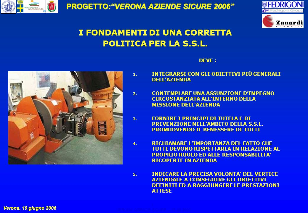 7 PROGETTO:VERONA AZIENDE SICURE 2006 Verona, 19 giugno 2006 VERONA AZIENDE SICURE – 19.06.2006 7 I FONDAMENTI DI UNA CORRETTA POLITICA PER LA S.S.L.