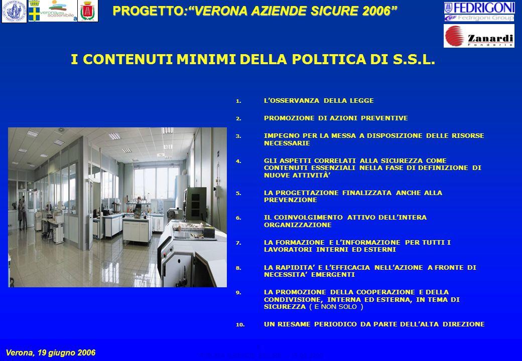 8 PROGETTO:VERONA AZIENDE SICURE 2006 Verona, 19 giugno 2006 VERONA AZIENDE SICURE – 19.06.2006 8 I CONTENUTI MINIMI DELLA POLITICA DI S.S.L.