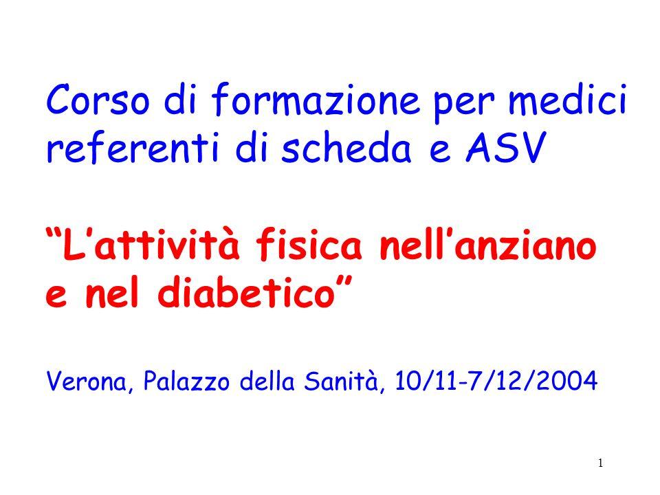 1 Corso di formazione per medici referenti di scheda e ASV Lattività fisica nellanziano e nel diabetico Verona, Palazzo della Sanità, 10/11-7/12/2004