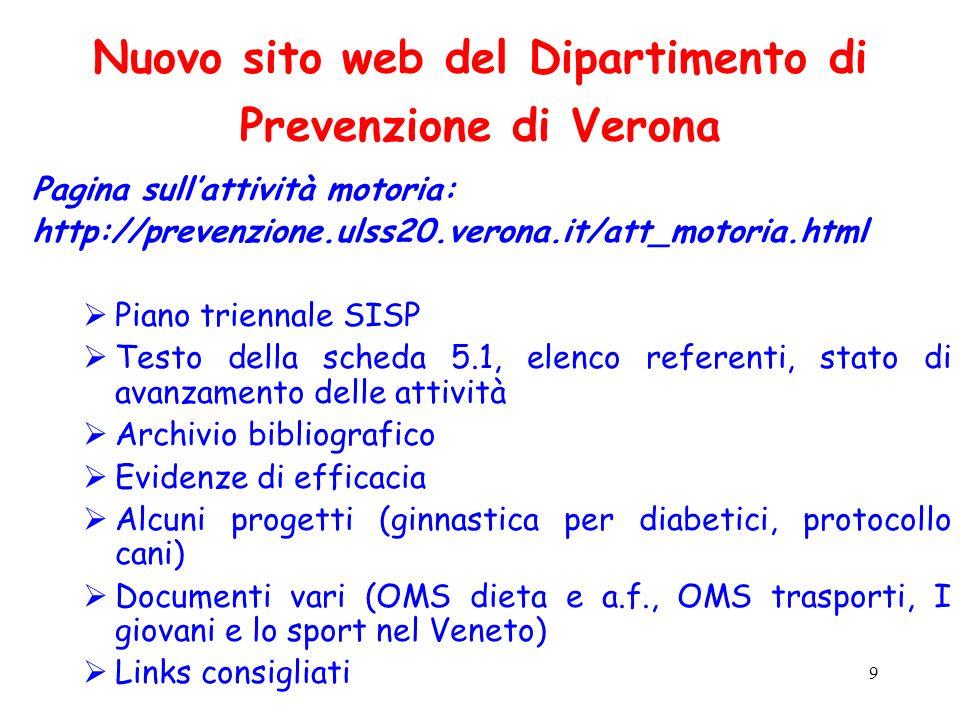9 Nuovo sito web del Dipartimento di Prevenzione di Verona Pagina sullattività motoria: http://prevenzione.ulss20.verona.it/att_motoria.html Piano tri