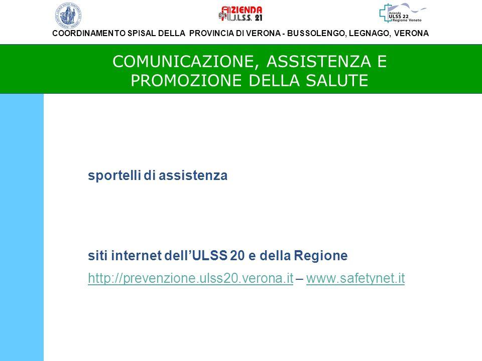 COORDINAMENTO SPISAL DELLA PROVINCIA DI VERONA - BUSSOLENGO, LEGNAGO, VERONA COMUNICAZIONE, ASSISTENZA E PROMOZIONE DELLA SALUTE sportelli di assistenza siti internet dellULSS 20 e della Regione http://prevenzione.ulss20.verona.it – www.safetynet.ithttp://prevenzione.ulss20.verona.itwww.safetynet.it