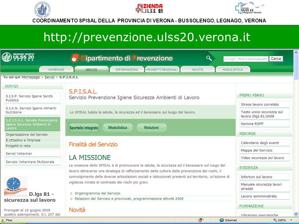 COORDINAMENTO SPISAL DELLA PROVINCIA DI VERONA - BUSSOLENGO, LEGNAGO, VERONA http://prevenzione.ulss20.verona.it