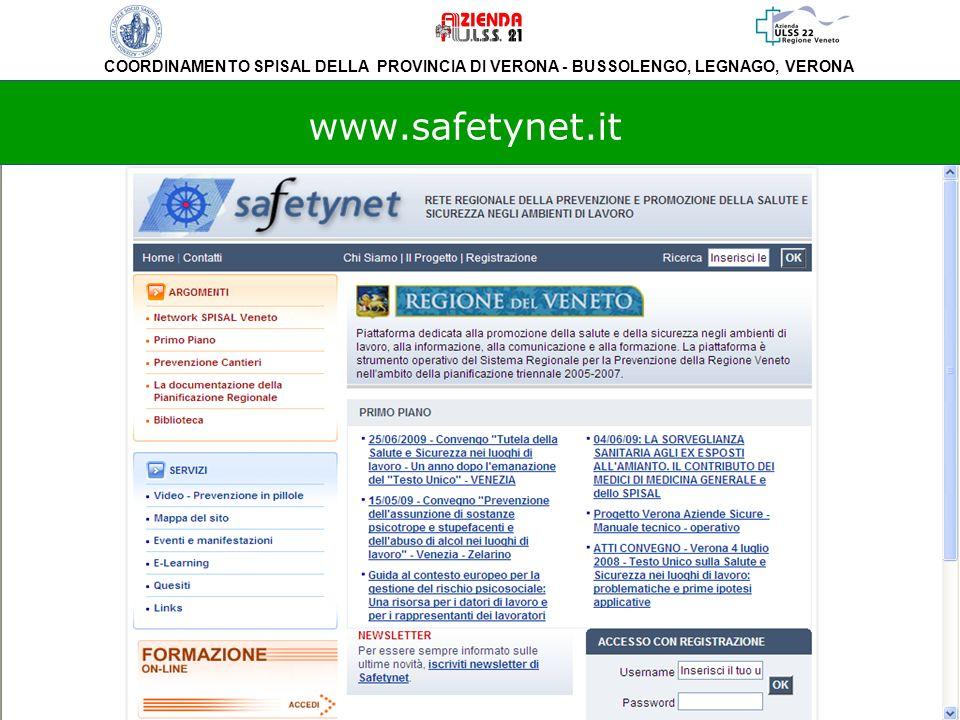 COORDINAMENTO SPISAL DELLA PROVINCIA DI VERONA - BUSSOLENGO, LEGNAGO, VERONA www.safetynet.it