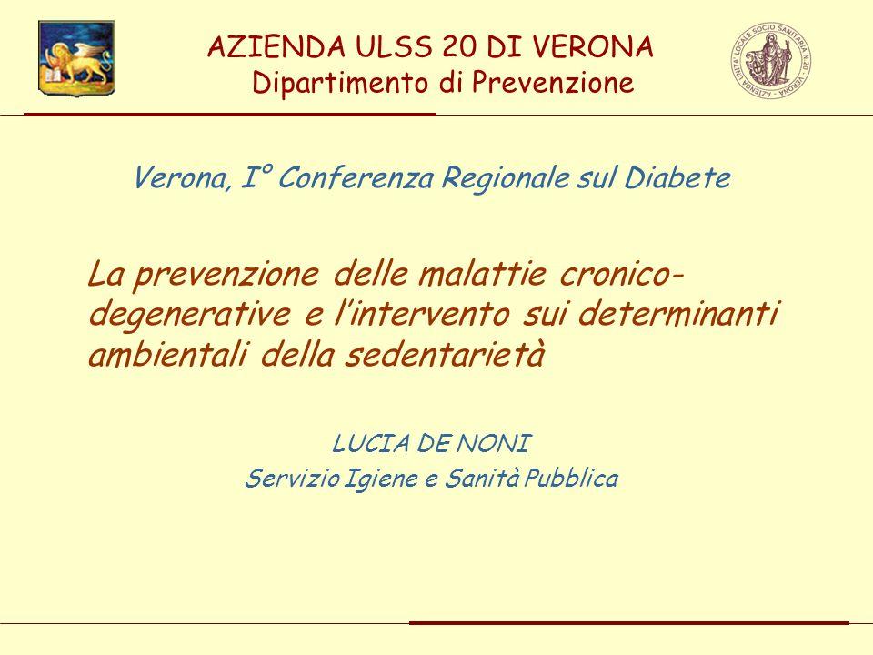AZIENDA ULSS 20 DI VERONA Dipartimento di Prevenzione Verona, I° Conferenza Regionale sul Diabete La prevenzione delle malattie cronico- degenerative