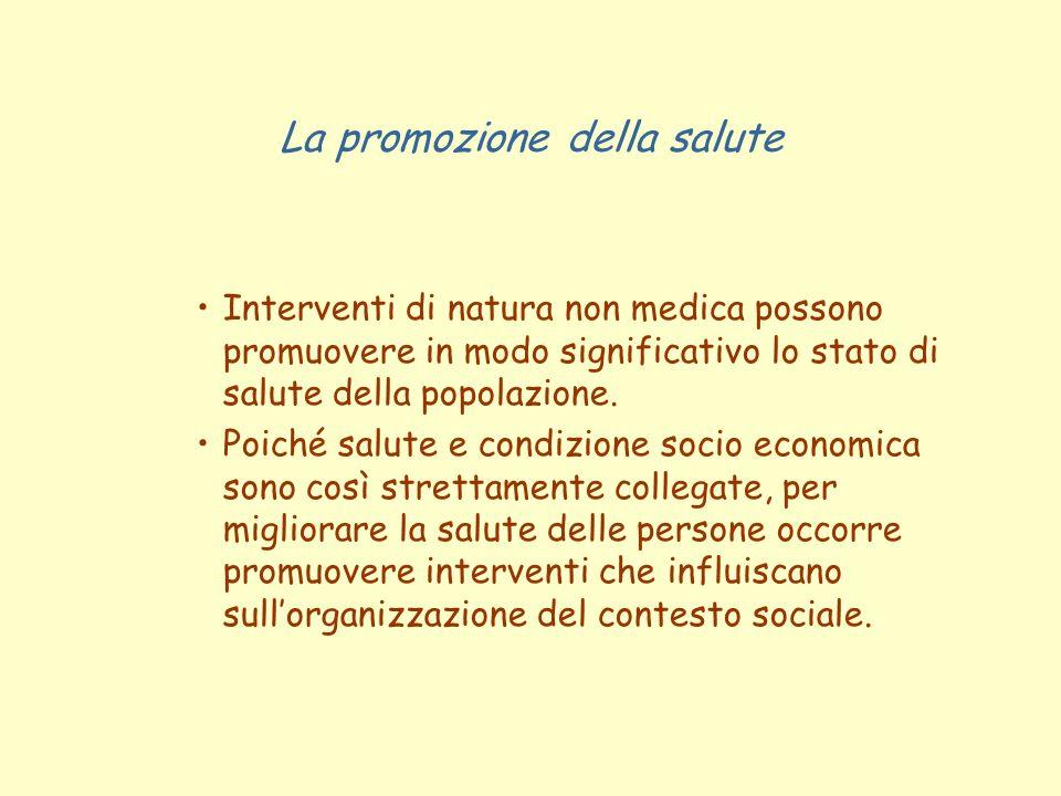 La promozione della salute Interventi di natura non medica possono promuovere in modo significativo lo stato di salute della popolazione. Poiché salut