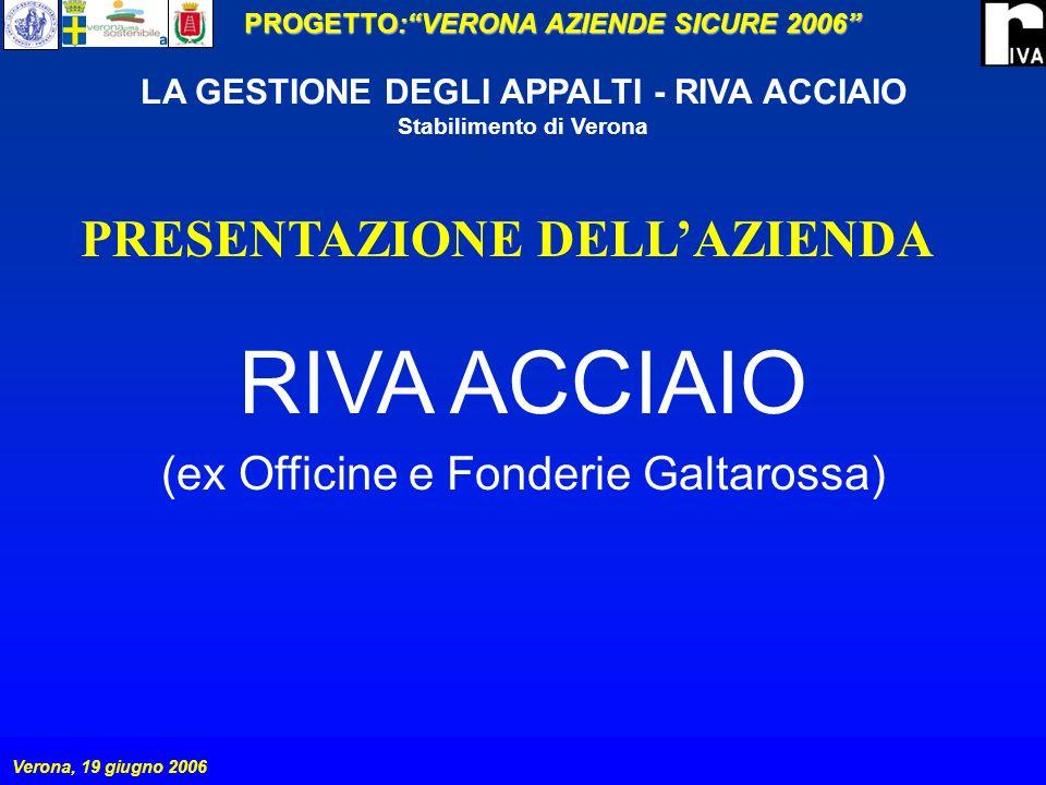 PROGETTO:VERONA AZIENDE SICURE 2006 Verona, 19 giugno 2006 LA GESTIONE DEGLI APPALTI - RIVA ACCIAIO Stabilimento di Verona GESTIONE DELLAPPALTO I subappalti sono ammessi solo se autorizzati dalla RIVA ACCIAIO.