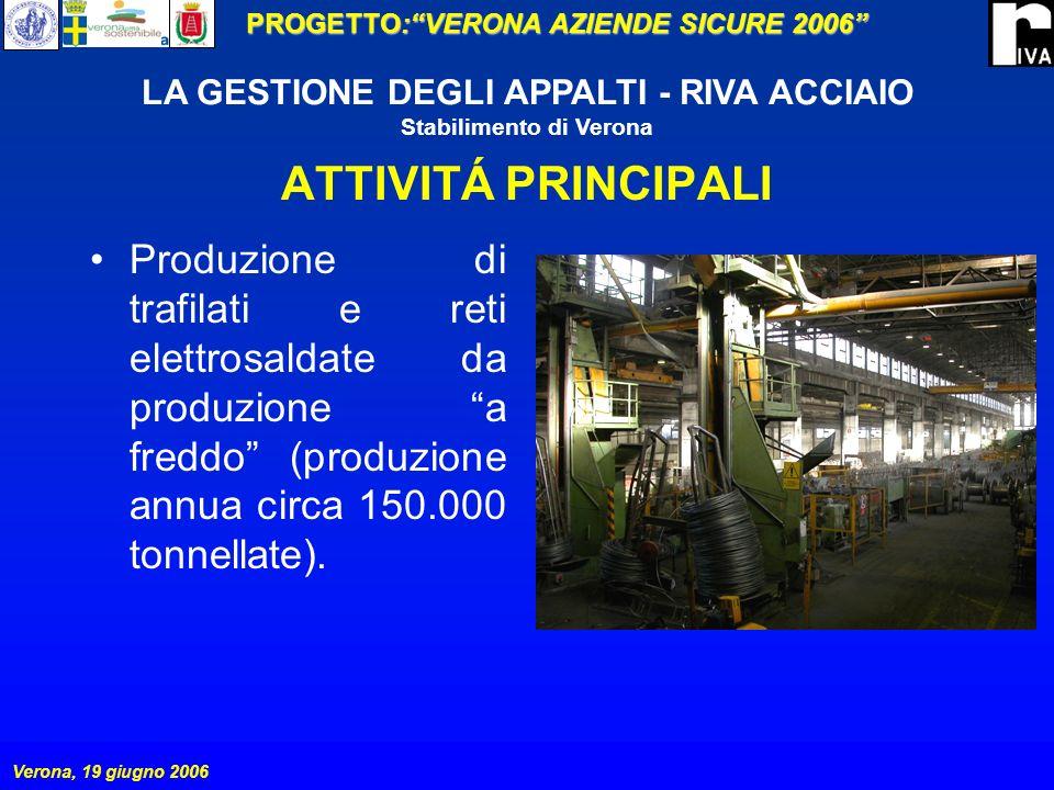 PROGETTO:VERONA AZIENDE SICURE 2006 Verona, 19 giugno 2006 LA GESTIONE DEGLI APPALTI - RIVA ACCIAIO Stabilimento di Verona GESTIONE DELLAPPALTO LESIGENZA DI REALIZZARE IMPIANTI, MANUTENZIONI, ECC.