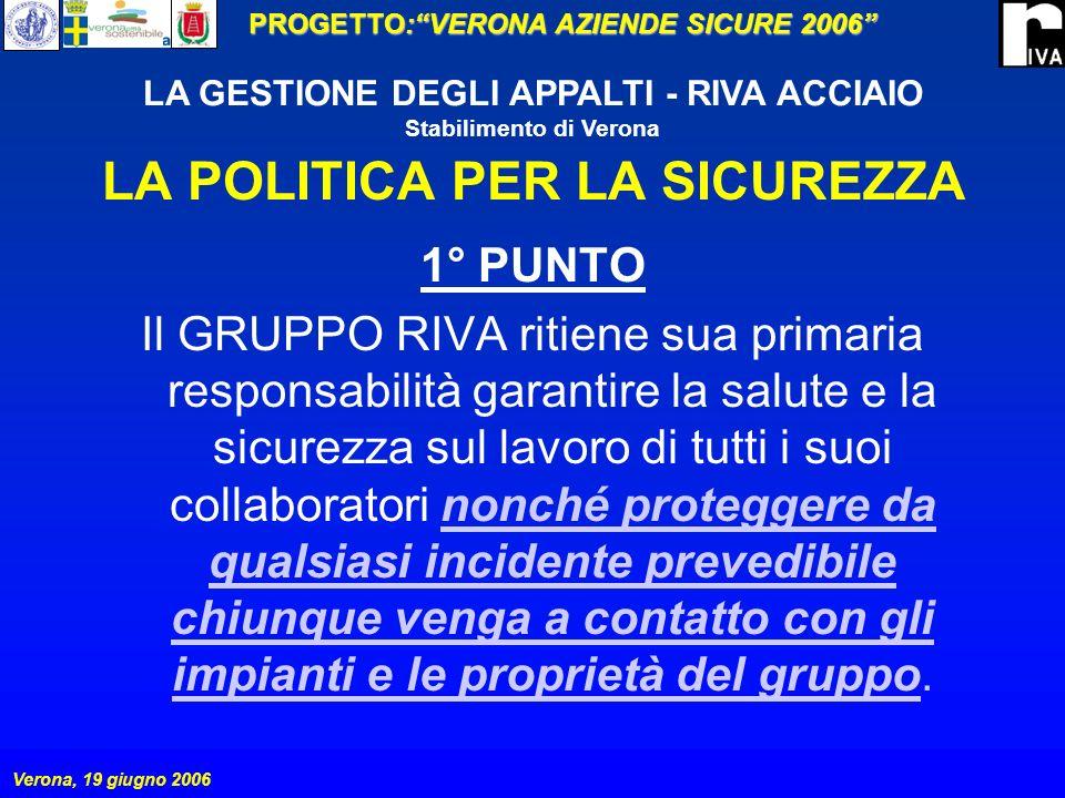 PROGETTO:VERONA AZIENDE SICURE 2006 Verona, 19 giugno 2006 LA GESTIONE DEGLI APPALTI - RIVA ACCIAIO Stabilimento di Verona LA POLITICA PER LA SICUREZZA LA POLITICA PER LA SICUREZZA è sottoscritta dal PRESIDENTE del GRUPPO RIVA